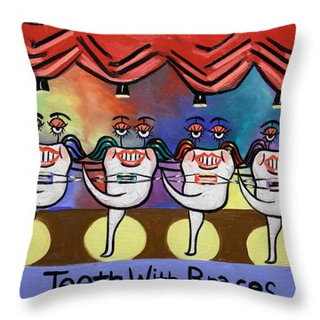 Throw Pillow featuring the painting Teeth With Braces Dental Art By Anthony Falbo by Anthony Falbo