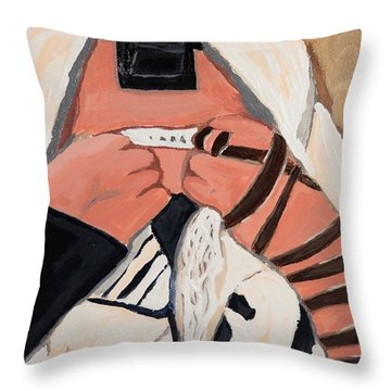 Throw Pillow featuring the painting Tefillah- In Prayer by Lisa Brandel