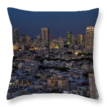 Throw Pillow featuring the photograph Tel Aviv At The Twilight Magic Hour by Ron Shoshani