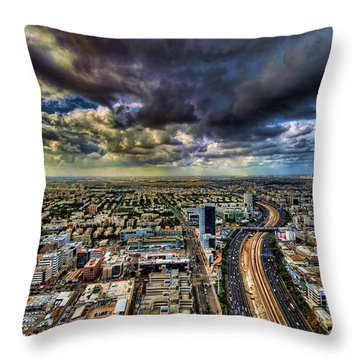 Tel Aviv Blade Runner Throw Pillow