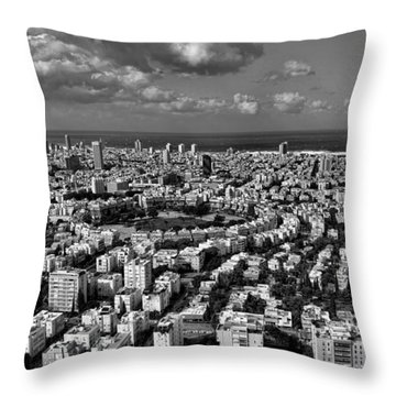 Tel Aviv Center Black And White Throw Pillow