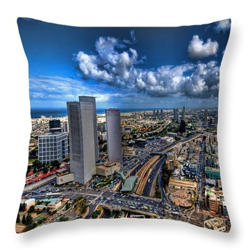 Throw Pillow featuring the photograph Tel Aviv Center Skyline by Ron Shoshani