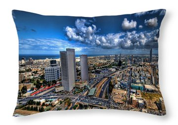 Tel Aviv Center Skyline Throw Pillow by Ron Shoshani