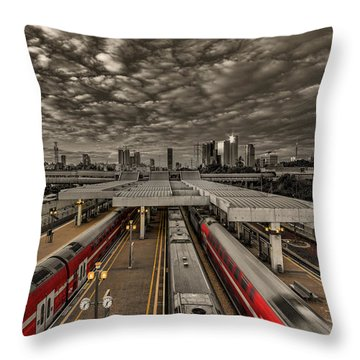 Throw Pillow featuring the photograph Tel Aviv Central Railway Station by Ron Shoshani