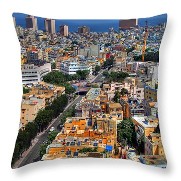 Tel Aviv Eagle Eye View Throw Pillow
