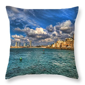 Throw Pillow featuring the photograph Tel Aviv Jaffa Shoreline by Ron Shoshani