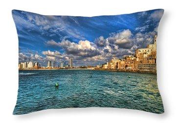 Tel Aviv Jaffa Shoreline Throw Pillow by Ron Shoshani