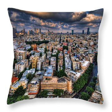 Throw Pillow featuring the photograph Tel Aviv Lookout by Ron Shoshani