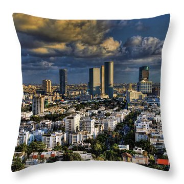 Throw Pillow featuring the photograph Tel Aviv Skyline Fascination by Ron Shoshani