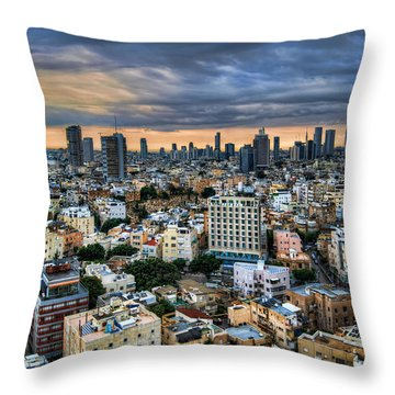 Throw Pillow featuring the photograph Tel Aviv Skyline Winter Time by Ron Shoshani