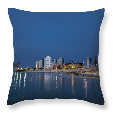 Throw Pillow featuring the photograph Tel Aviv The Blue Hour by Ron Shoshani