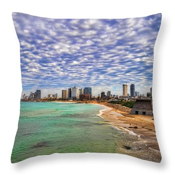 Tel Aviv Turquoise Sea At Springtime Throw Pillow
