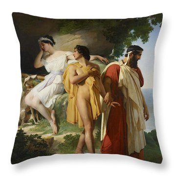 Telemachus And Eucharis Throw Pillow by Raymond Quinsac Monvoisin
