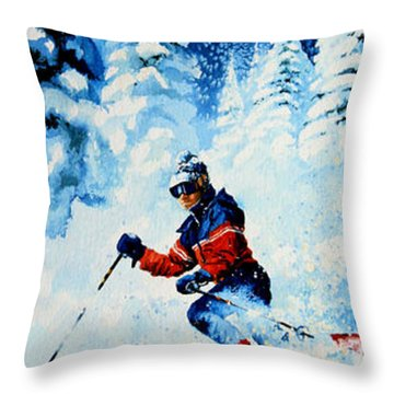 Telemark Trails Throw Pillow by Hanne Lore Koehler