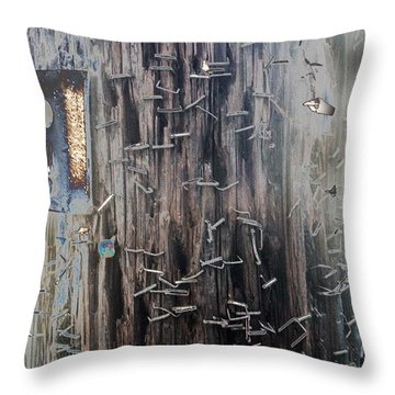 Telephone Pole With Scars From The Past Throw Pillow