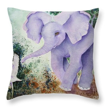 Throw Pillow featuring the painting Tembo Tag by Diane DeSavoy