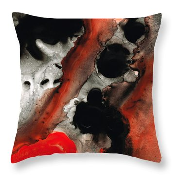 Tempest - Red And Black Painting Throw Pillow by Sharon Cummings