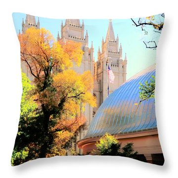 Temple And Tabernacle Throw Pillow by Kathleen Struckle