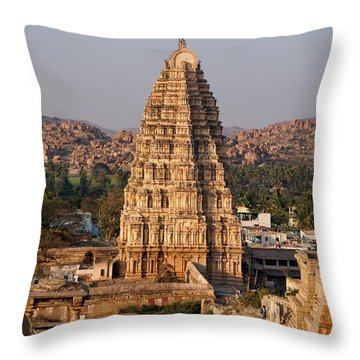 Temple At Hampi Throw Pillow by Carol Ailles