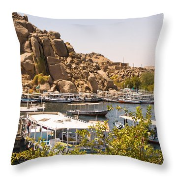 Temple Boat Dock Throw Pillow
