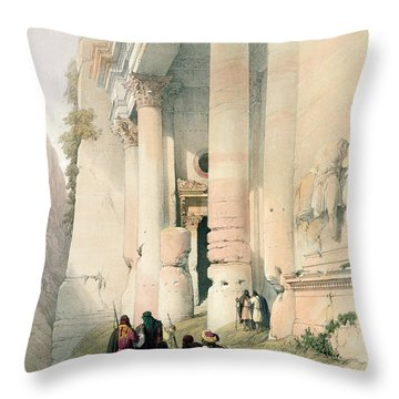 Temple Called El Khasne Throw Pillow by David Roberts
