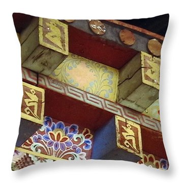 Temple In Bhutan Throw Pillow by Patrick Morgan