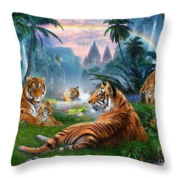 Temple Lake Tigers Throw Pillow by Jan Patrik Krasny