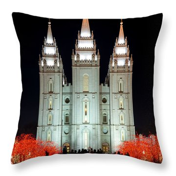 Throw Pillow featuring the photograph Temple Lights by Dustin  LeFevre