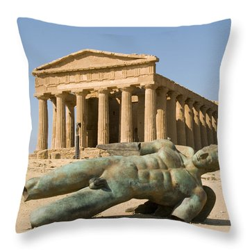 Temple Of Concord And Icarus Fallen Throw Pillow by Rachel Down