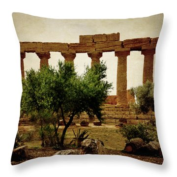 Temple Of Juno Lacinia In Agrigento Throw Pillow by RicardMN Photography