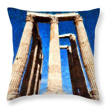 Temple Of Olympian Zeus  Throw Pillow by George Atsametakis