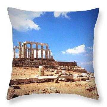 Temple Of Poseidon Vignette Throw Pillow