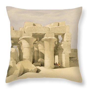 Temple Of Sobek And Haroeris At Kom Ombo Throw Pillow by David Roberts