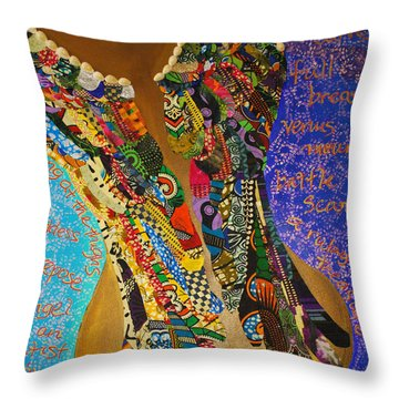 Throw Pillow featuring the tapestry - textile Temple Of The Goddess Eye Vol 1 by Apanaki Temitayo M