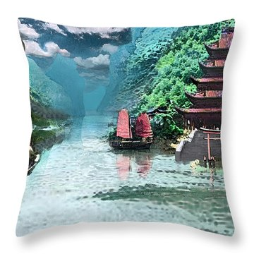 Temple On The Yangzte Throw Pillow