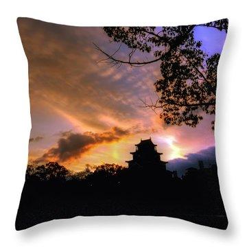 A Temple Sunset Japan Throw Pillow by John Swartz