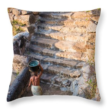 Temple Steps Throw Pillow