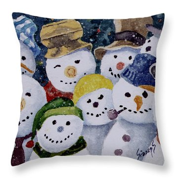 Ten Little Snowmen Throw Pillow