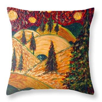 Ten Moons In Scarlet Sky Throw Pillow