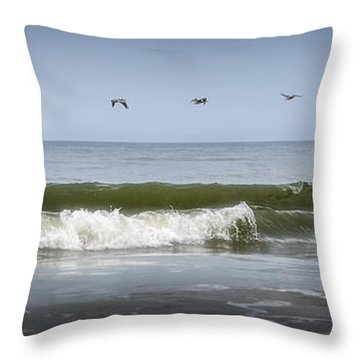 Throw Pillow featuring the photograph Ten Pelicans by Steven Sparks
