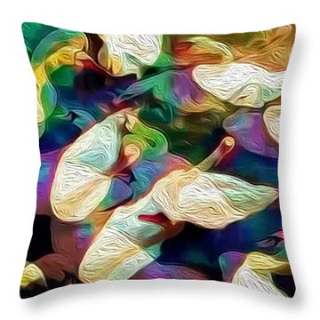 Throw Pillow featuring the photograph Ten Swans A Swimming by Jack Torcello