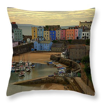 Tenby Harbour In The Morning Throw Pillow