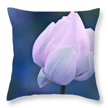 Tender Morning With Lotus Throw Pillow