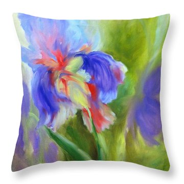 Throw Pillow featuring the painting Tennessee Iris by Carol Berning
