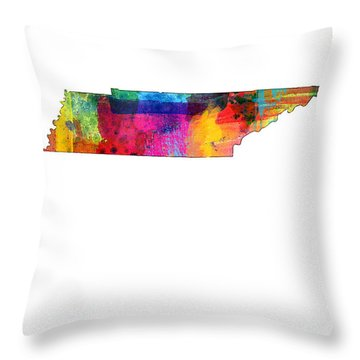 Tennessee Map Throw Pillow