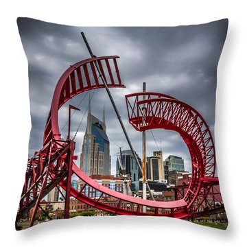Tennessee - Nashville Through Sculpture Throw Pillow