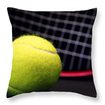 Tennis Ball And Racket Throw Pillow by Olivier Le Queinec