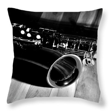 Tenor Sax Throw Pillow by Benjamin Yeager