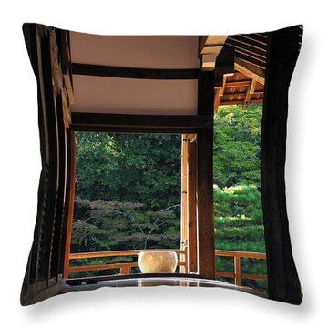 Throw Pillow featuring the photograph Tenryui-ji - Temple - Kyoto by Jacqueline M Lewis