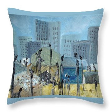 Throw Pillow featuring the painting Tent City Homeless by Judith Rhue